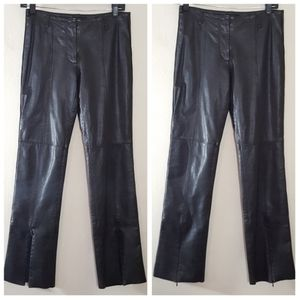 Guess Black Genuine Leather Front Ankle Zip Pants